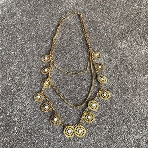 Triple layer gold with white necklace